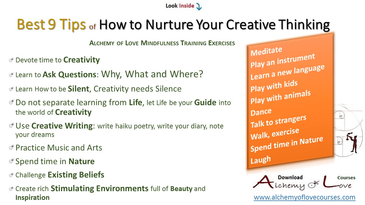 9 brain development most important tips to nurture creativity, alchemy of love mindfulness exercises, how to nurture creative thinking