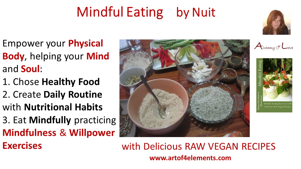 Mindful Eating by Nataša Pantović quote about vegan food body mind connection to food