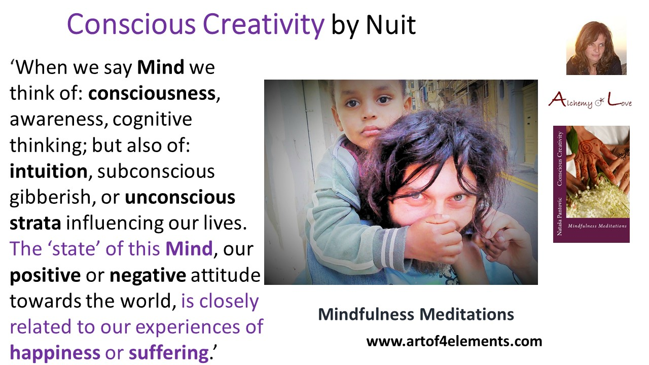 happiness or suffering conscious creativity mindfulness meditations book quote by Nataša Pantović Nuit