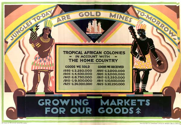 A British poster from 1927 called Jungles Today Are Gold Mines Tomorrow UK National Archives
