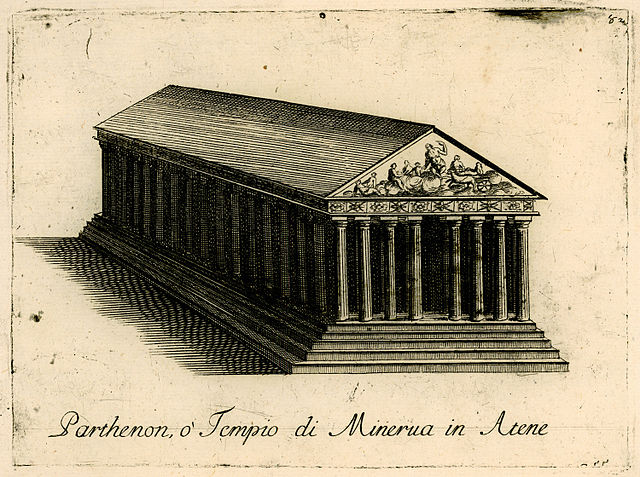 Parthenon illustration published in 1688 depicting the structure in its entirety by Vincenzo Coronelli