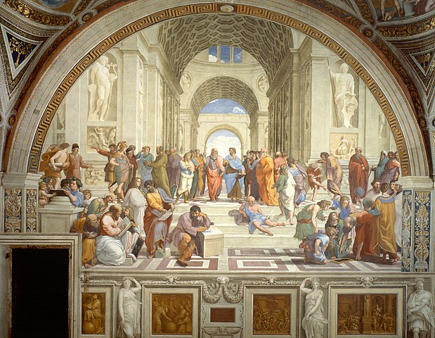 The School of Athens 1511 AC by Raphael, Italy depicting famous classical Greek philosophers inspired by ancient Greek architecture