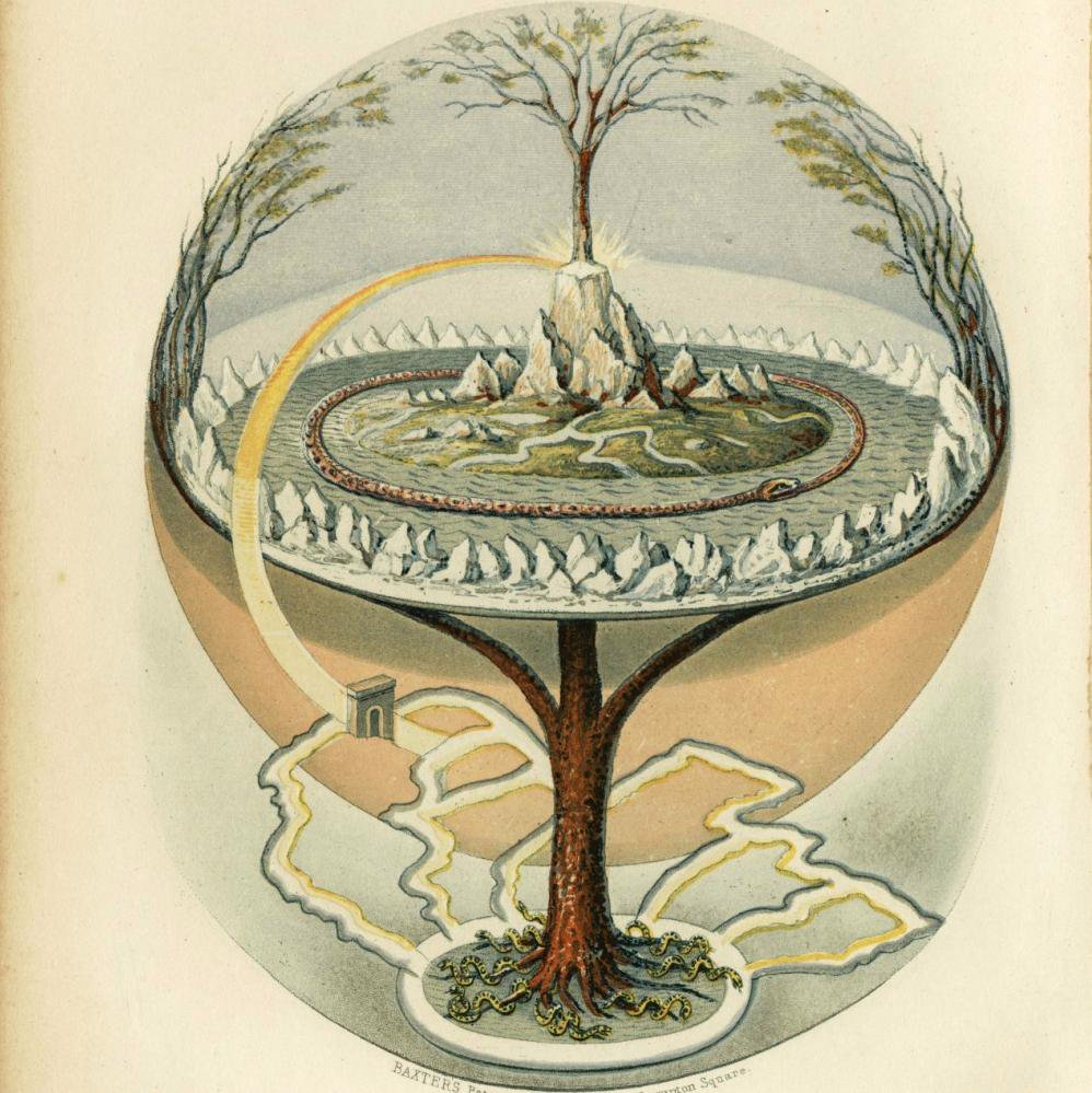 Yggdrasil Tree of Life from Prose Edda, an Old Norse work of literature written in Iceland in the early 13th century. In 1847 Painted by Oluf Olufsen Bagge