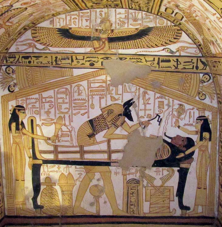 Anubis, Isis, Nephthys in the Theban Tomb 335 (Nakhtamun), from the reign of Ramesses II 1300 BC
