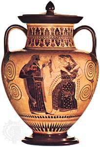 Dionysus and the Maenads amphora by the Amasis Painter 530 BC in Paris