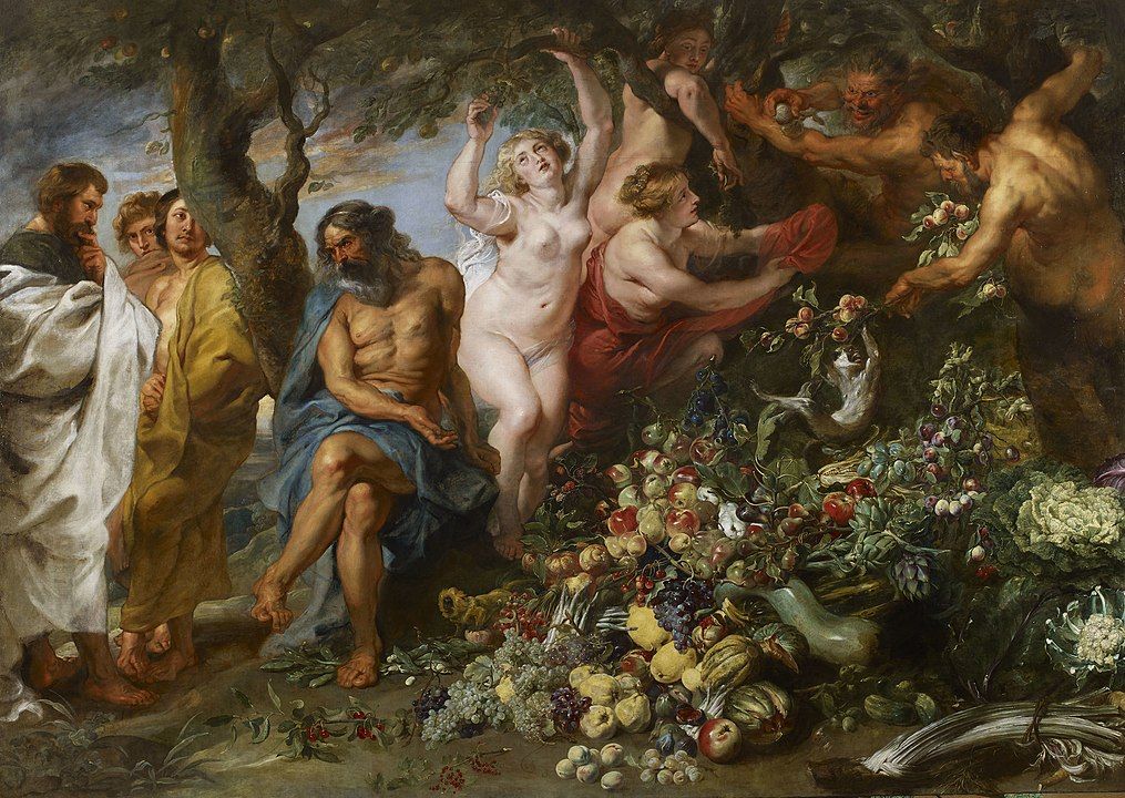 Pythagoras Advocating Vegetarianism 1630 by Peter Paul Rubens inspired by Pythagoras speech in Ovid Metamorphoses