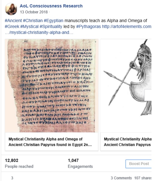 Facebook Article Post Mystical Christianity 12000 views 1200 likes