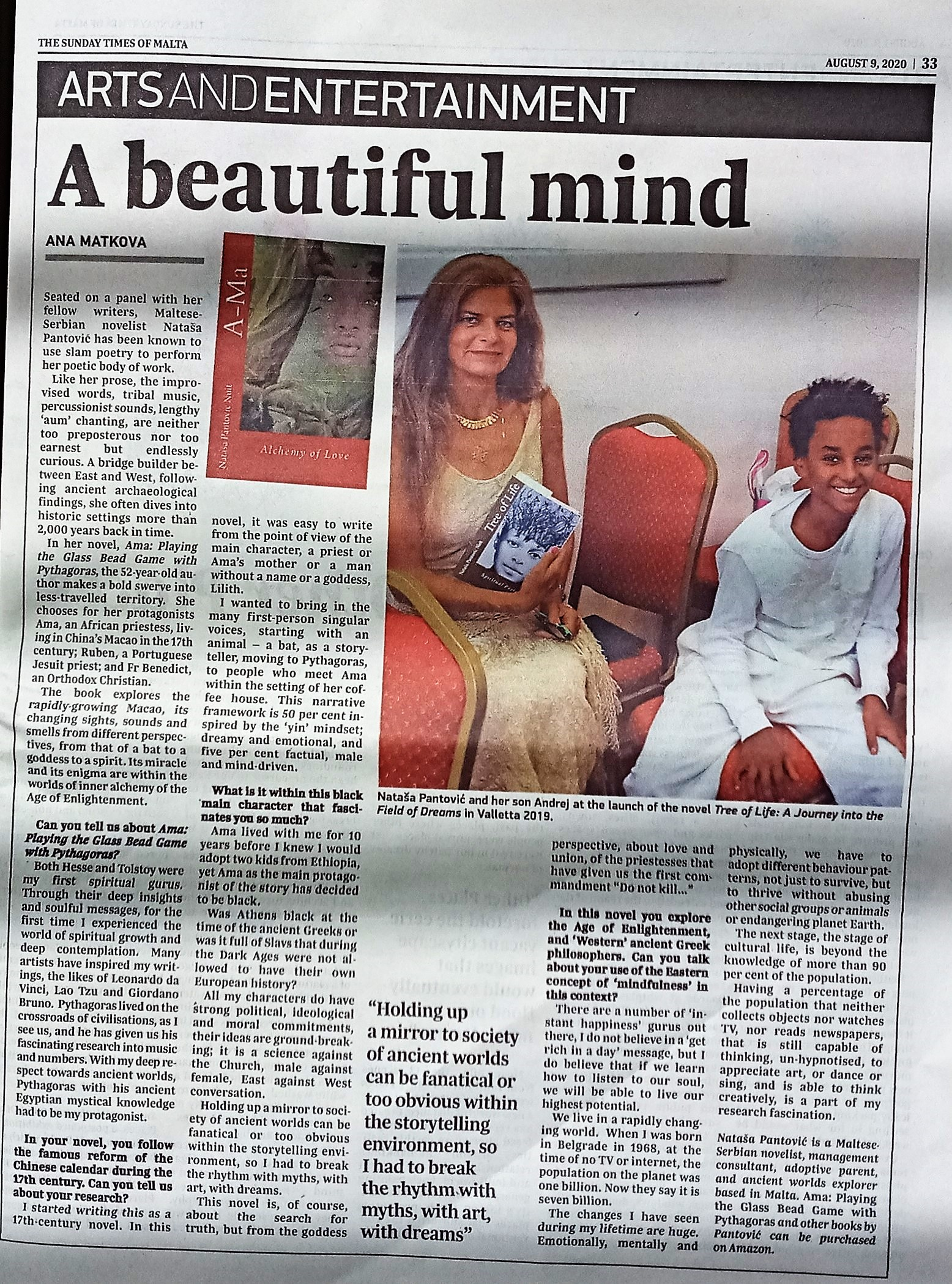 Sunday Times Article full image 9 Aug 2020 a Beautiful Mind interview with Nataša Pantović