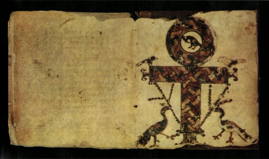 A crux ansata as a symbol of the Egyptian Anx and resurection in Codex Glazier a Coptic manuscript New Testament 400 AC