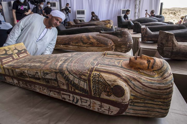 The 140 sarcophagi unearthed in the Saqqara necropolis were exhibited on October 3 2020 during a press conference KHALED DESOUKI