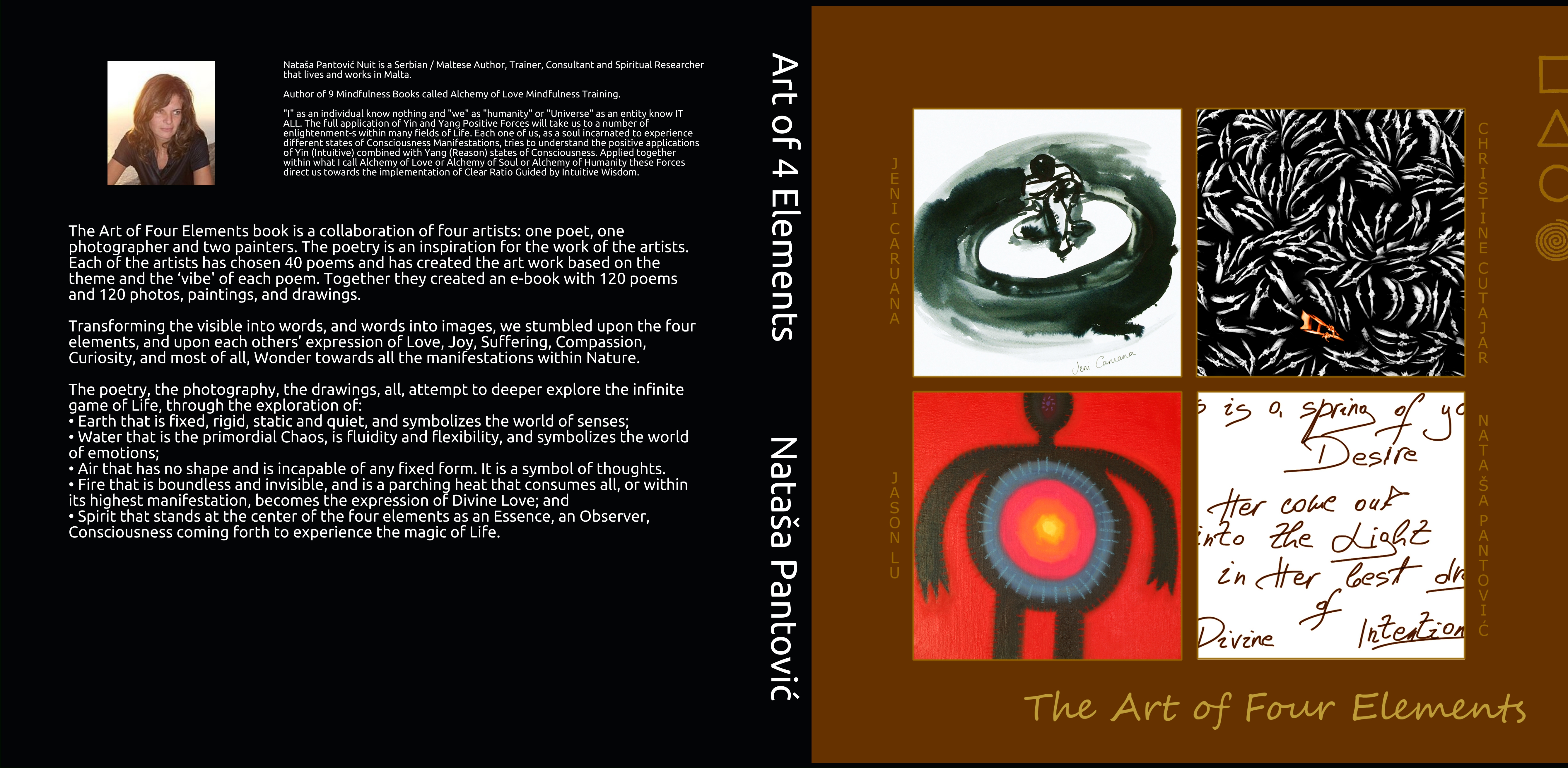 Art of 4 Elements book cover black and white interior printed 2019