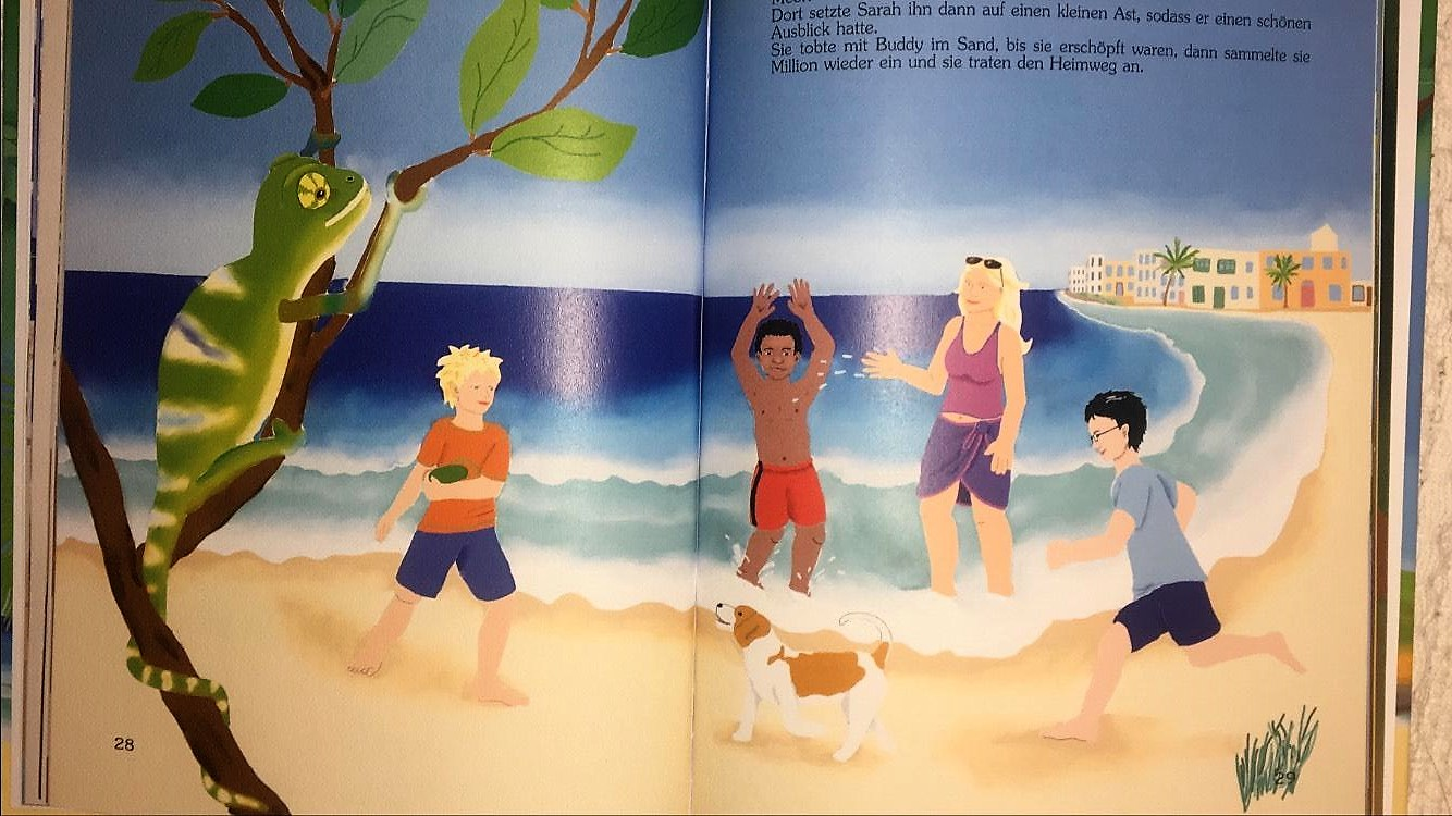 At Golden Bay Family day Andrej Yu Hai and Romeo and Sarah at the beach adventures in Malta book illustration 4 from Million by Sarah Kern book for children published in German