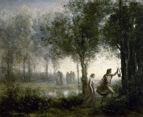 Orpheus leading Eurydice from the Underworld. Jean Baptiste Camille Corot 1796-1875