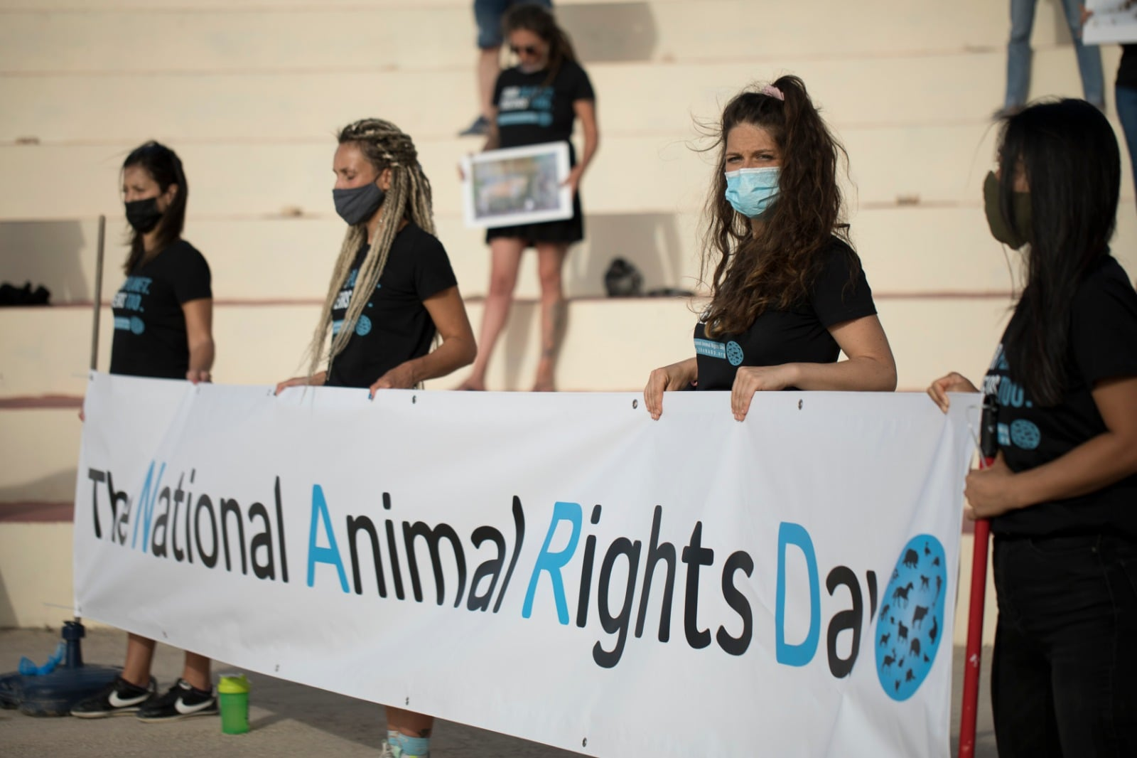 The National Animals Rights Day Malta 2021 holding Banner