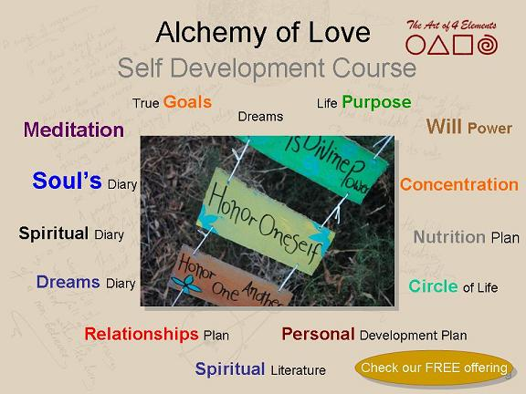 personal development tools, alchemy of love, self development course offering