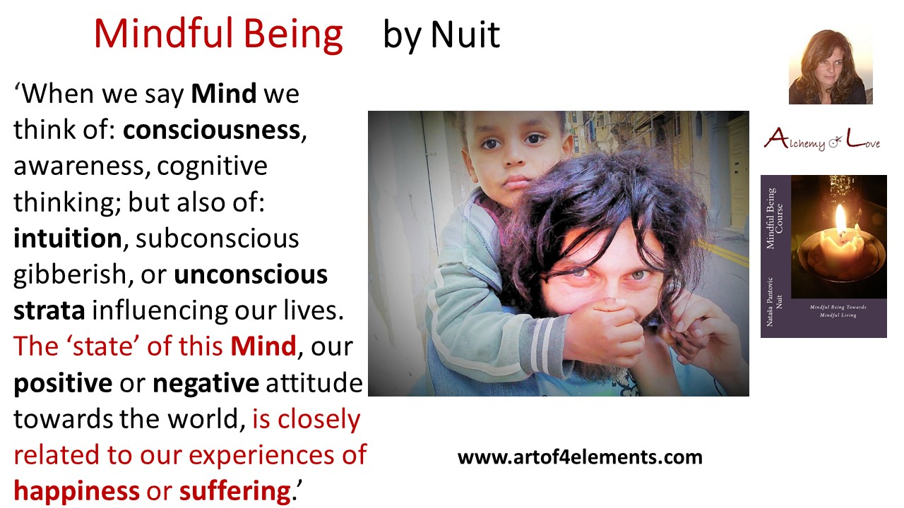 How to exercise mindfulness, Mindful Being by Nuit quote about happiness and suffering