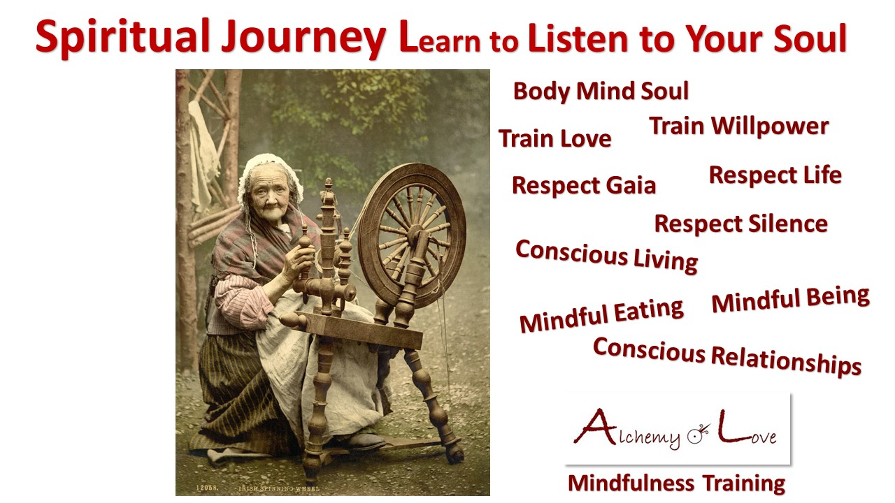 listen to your soul spiritual journey body mind soul tools alchemy of love mindfulness training by Natasa Pantovic Nuit quote