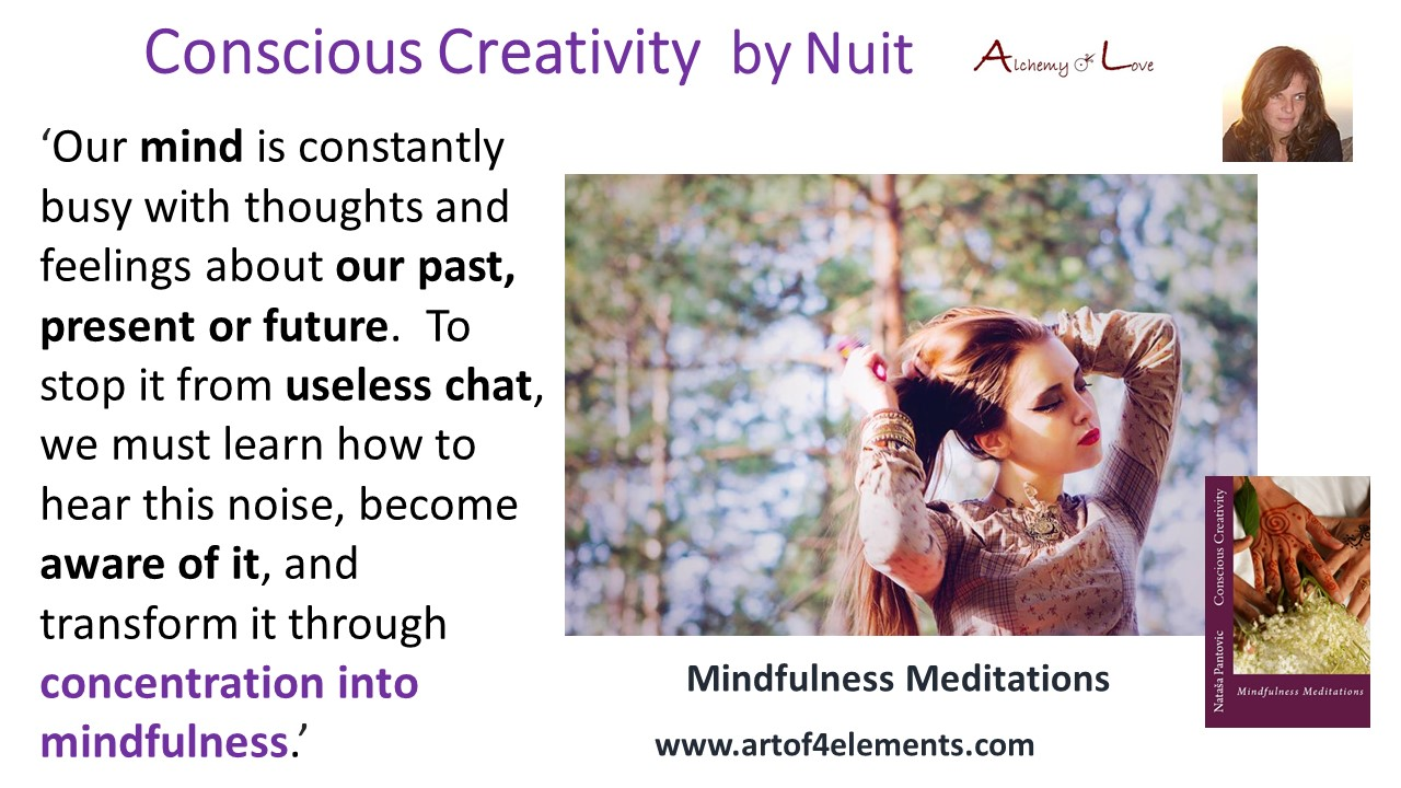 transform noise through concentration into mindfulness conscious creativity mindfulness meditations book quote by Natasa Pantovic Nuit