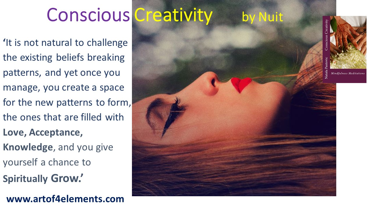 challenging beliefs conscious creativity mindfulness meditations book quote by Natasa Pantovic Nuit