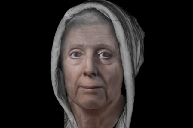 Scottish witch face digitally constructed Lilias Adie