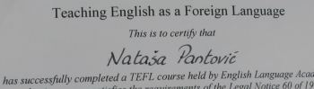 teaching English as foreign language certificate