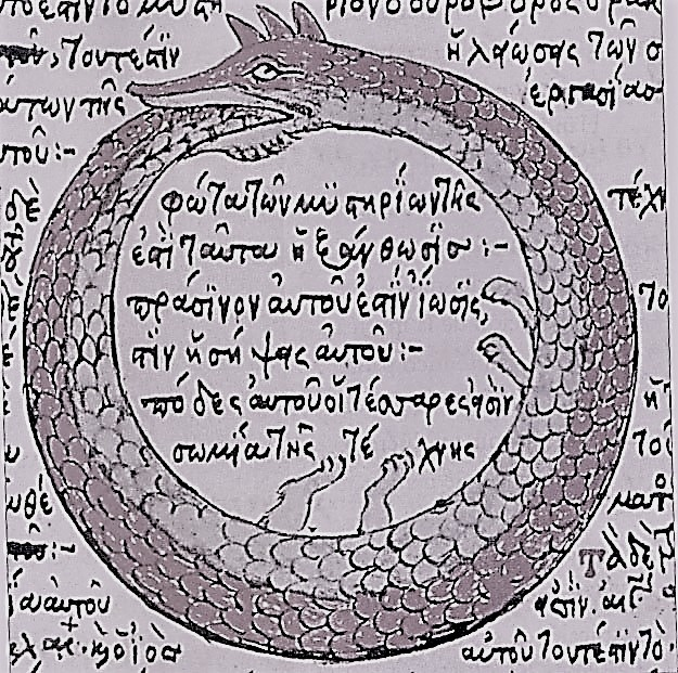 Ouroboros image 1478 drawing by Theodoros Pelecanos, of an alchemical tract attributed to Synesius