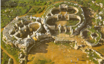 an-aerial-view-of-mnajdra maltese temple shaped as goddess