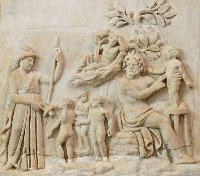 Creation of humanity by Prometheus as Athena looks on (Roman-era relief 3rd century AD) Italy