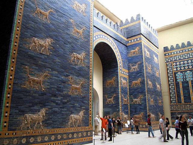 Ishtar Gate Babylon 575 BC in the Pergamon Museum in Berlin
