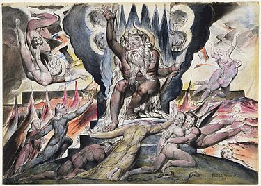 Minos depicted by William Blake Illustration of Dante's Divine Comedy in the British National Gallery